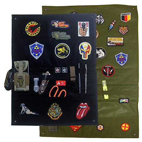 """Patch Aufhänger Klettmatte Wand schwarz Patch Holder, taktische Militär Patch Badge aufnäher Display Board (Schwarz, M 90 x 60cm (35.4"""" x25.6 """"))"""