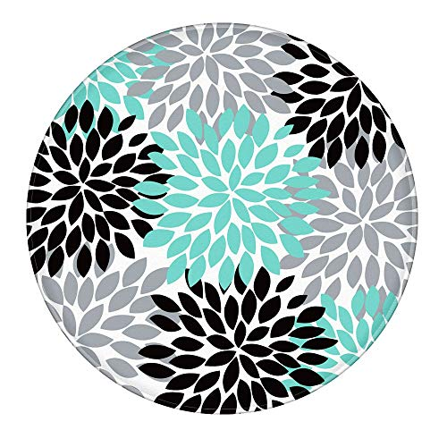Uphome Memory Foam Bath Mat Soft Flannel Dahlia Flower Bathroom Rugs Microfiber Non-Slip Absorbent Small Area Rugs Floor Kitchen Carpet (2 FT Round, Dahlia)