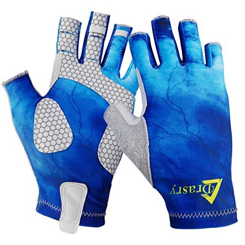 Drasry UV Protection Fishing Fingerless Gloves Men Women UPF 50+ SPF Gloves for Fishing Kayak Paddling Hiking Sailing Rowing Sun Gloves (Blue - Star Sky, S)