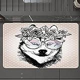 Alfombrilla de Baño Antideslizantes de 50X80 cm,Alaskan Malamute, lunares vintage y perro co, Tapete para el Piso Lavable a Máquina con Microfibras Suaves Absorbentes de Agua para Bañera, Ducha y Baño