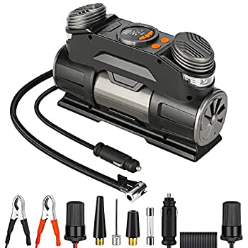 Yome Portable Air Compressor Pump with Digital Display Gauge Mini 12V Dual Cylinder Tire Inflator with Auto Pump/Shut Off Feature for Car Tires Other Inflatables