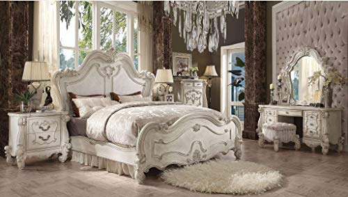 Find Discount Esofastore Eastern King Size Bed Bone White Finish Arched Panels 4pcs Bedroom Furnitur...