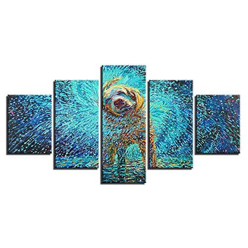 Afbeelding Op Doek 5 Stuk Canvas Hd Prints Poster Wall Art Abstract Pictures 5 Stuks Impressionistische Hond Schudden Schilderijen Voor Home Decor Kinderkamer,Without Frame