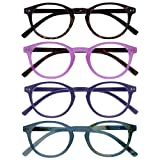 Opulize Zen Pack 4 Gafas De Lectura Oscuro Marrón Rosa Púrpura Turquoise Pequeño Hombres Mujeres RRRR24-245Q +1,50