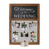 Rustic Wall Mounted Picture Display Frame With Chalkboard Sign & 9 Bulldog Picture Clips - 20x30 Inch Wall Chalkboard With Picture Grid For Displaying picture collage. Photo Board for polaroids & more