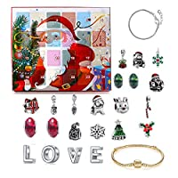 アドベントクリスマスチャームカレンダー、女の子のためのアドベントカレンダー2020、Diyクリスマスアドベントカレンダーブレスレットネックレスセット、ファッションジュエリーセット、女の子のための美しい,D