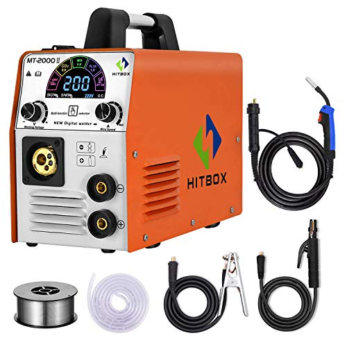 HITBOX MIG Welder 185A 110V/220V Dual Voltage Color Smart LCD Display IGBT Inverter Multifunction MIG MMA Lift TIG Stick Gas Mix Gases Gasless Flux Cored Wire Solid Core Wire Welding Machine MT2000Ⅱ