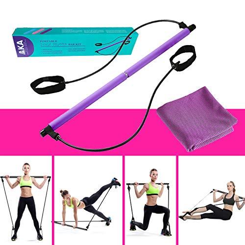 AKA Sports Gear Portable Yoga Exercise Pilates Bar, Pilates Bar Kit with Resistance Band,Yoga Pilates Stick Total Body Workout Bar, Stretch,Twisting,Sit-Up Bar Resistance Band (Purple)