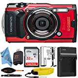 Olympus Tough TG-6 Water Proof Digital Camera with Sandisk 32Gb Memory Card + Memory Card Reader + Starter Kit and Accessories ZeeTech Bundle (Starter Red)