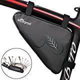 NDakter Bike Pouch with Bicycle Repair Tool Kits, Water-Resistant Bicycle Frame Triangle Storage Bag with Plenty of Room for Phone, Wallet, Keys, Use for Road/Mountain/Commute Bikes