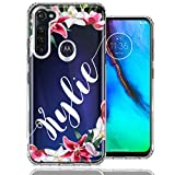 Personalized Custom Name Flower Design Case for Motorola Moto G Stylus - Handwriting Style Text Name Cute Floral Case