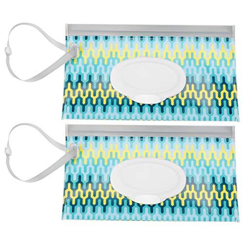 Healifty 2 Stück Feuchttuchbeutel Wiederverwendbar Nachfüllbar Feuchttuch Reisetücher Spender Wischtaschen Baby Feuchttuch Tragbare Reisetaschen (Wellenmuster)