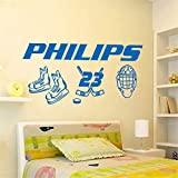 Emeas Wall Stickers Art Decor Decals Customized Name & Number Hockey for Kids Children Rooms Home Bedroom Skating Boots Lacrosse Helmet