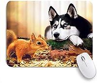 VAMIX マウスパッド 個性的 おしゃれ 柔軟 かわいい ゴム製裏面 ゲーミングマウスパッド PC ノートパソコン オフィス用 デスクマット 滑り止め 耐久性が良い おもしろいパターン (死んだ木の幹リス秋に横たわっているシベリアンハスキー)