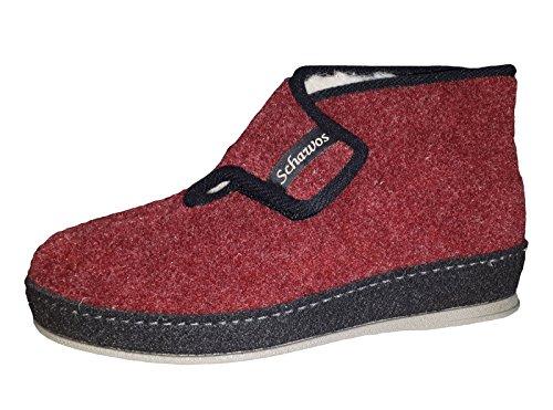 Schawos Damen Hausschuh Bordo rot Schurwollfutter von Größe 36 bis 42, Damen Größen:40, Farben:rot