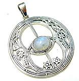 Colgante con diseño Avalon, piedra lunar, plata de ley, joyas esotéricas
