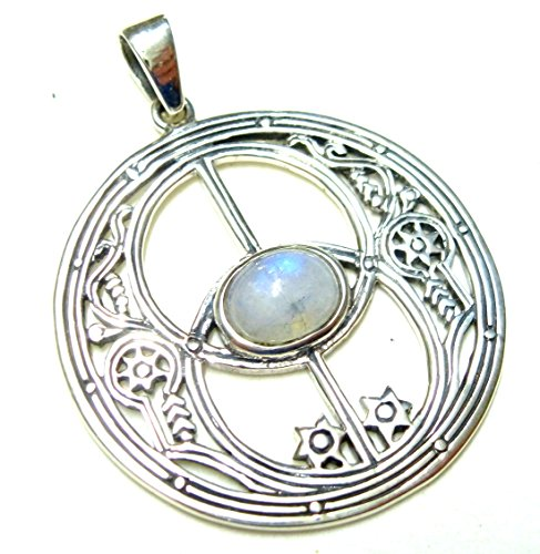 Kettenanhänger Silber, Motiv Anhänger Avalon, mit echtem Mondstein, aus 925 Sterling Silber filigran gearbeitet, Geschenk, Schmuck für Frauen, Glücksbringer, Schutzsymbol
