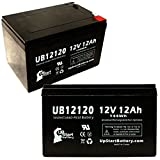 2 Pack Replacement for Freedom 644 Electric Scooter Battery - Replacement UB12120 Universal Sealed Lead Acid Battery (12V, 12Ah, 12000mAh, F1 Terminal, AGM, SLA) - Includes 4 F1 to F2 Terminal Adapter