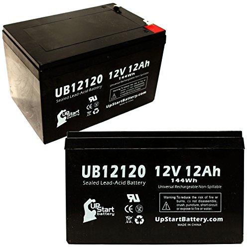 Paquete de 2 baterías de Repuesto para Mini Phantom Medical UB12120 de 12 V, 12 Ah, 12000 mAh, Terminal F1, AGM, SLA, Incluye 4 adaptadores de terminales F1 a F2