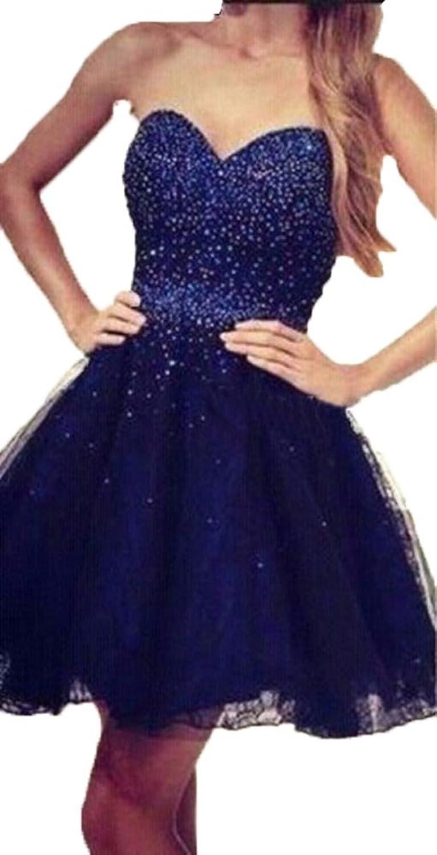 Dislax Sweetheart Beading Bodice Tulle Short Homecoming Dresses