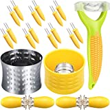 21 Pieces Stainless Steel Cob Corn Stripper Corn Peeler Corn Zipper Corn Cob Holders Corn Holder Pins for Home Kitchen Restaurant Use