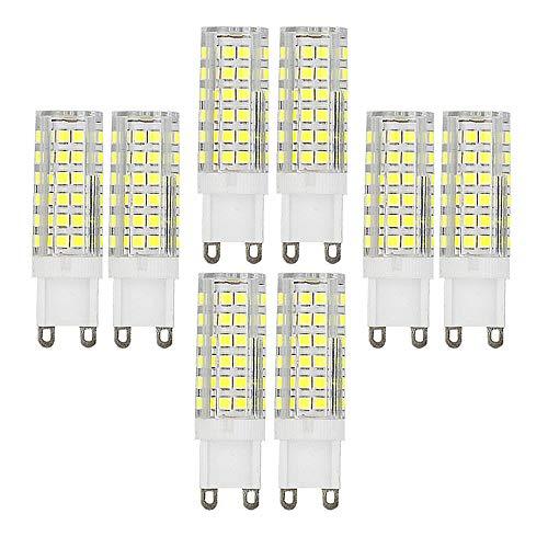 Ruihua - Bombilla LED G9 de 9 W, equivalente a una lámpara halógena de 85 W, 6000 K, blanco frío, no regulable, ángulo de haz de 360 °, 850 lúmenes G9 AC220-240V, juego de 8