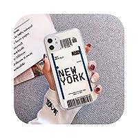 ラグジュアリーニューヨークロサンゼルス航空機搭乗券iPhone12 11 Pro X XS XR MAX 78プラス航空券カバー用クリア電話ケース -New York-For iphone 6 6s