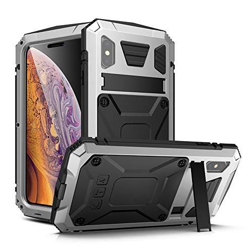 R-JUST 360 - Funda de protección para iPhone X/XS de 5,8 pulgadas con protector de pantalla de cristal templado integrado, color plateado y protector de silicona