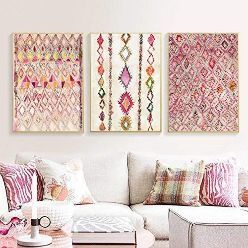Terilizi Marokkaans tapijt, roze, affiches en printen, ecatafetische, wooncultuur, Boheemse kunst, aquarel, canvas, schilderijen, wanddecoratie, 50 x 70 cm x 3, geen lijst