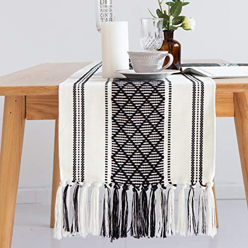 Cotton Woven Table Runner with Boho Tassels, Moroccan Farmhouse Rustic Geometric Diamond Handmade Minimalist Table Decorations for Dining Table Party, Linen Machine Washable 14 x 85 In (Black Cream)
