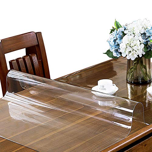 ETECHMART 24 x 48 Inches Clear PVC Table Cover Protector, 1.5mm Thick Custom Plastic Desk Pad, Waterproof Vinyl Table Top Protector Mat for Coffee Table, Dining Table, Writing Desk