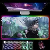 RGBゲーミングマウスパッド呪術廻戦アニメゲーミングマウスパッドカラフルな表面LEDライトマウスパッドコンピューターキーボードデスクマット900x400x4mm A