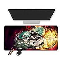 マウスパッド アニメマダラマウスパッドは、大きなマウスパッドを高性能の滑らかな表面で厚くします。耐久性のあるステッチエッジラバーゲームマウスマットイージーケアPcマウスパッドオフィスキーボードデスクマット-400X900X3Mm