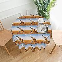 テーブルクロス 撥水 円形 アフリカのキリンをさまざまな色に描く少女夢のコンセプト コーヒーテーブル、ダイニングテーブル、農業用テーブルに適しています 直径152センチメートル