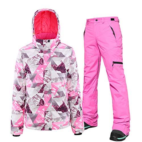 HSYD Damen Skianzug 2019 Winter Schneeanzug Snowboard-Sets Jacke Hose Snowboard Schneeanzug Skijacke und Hose Set für Skifahren und Schneemobilfahren, tolle Ausrüstung für Winter Gr. XS, rose