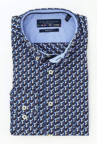 R.B. Boston regular fit overhemd blauw met lange mouw en streepjes patroon