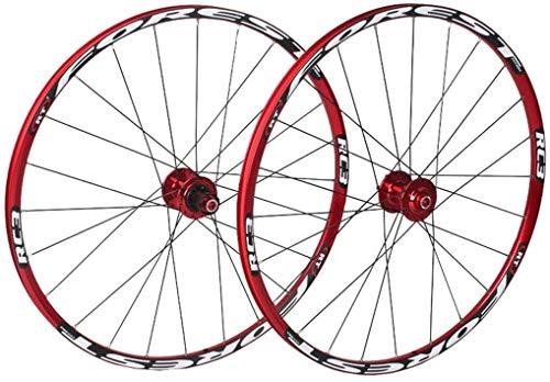 YSHUAI - Juego de ruedas de bicicleta de montaña 26 27.5 en bicicleta de montaña de doble capa Rim 7 rodamientos sellados 11 Speed  Cassette Hub freno de disco QR 24 1850 g, color blanco, tamaño 26inch