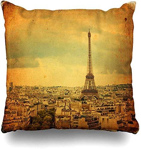 Triomphe Throw Pillow Cover Vista panorámica Paris Vintage Arch Boulevard Champs City Defense Diseño de la torre Eiffel Funda de almohada para el hogar Funda de almohada decorativa cuad 16×16pulgada
