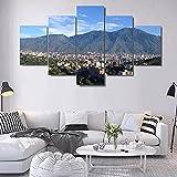 Cuadro de 5 piezas, lienzo impreso, para la pared, para el hogar, salón, apartamento, decoración modular, HD, con marco Avila Caracas, Montañas de Caracas, 200 x 100 cm