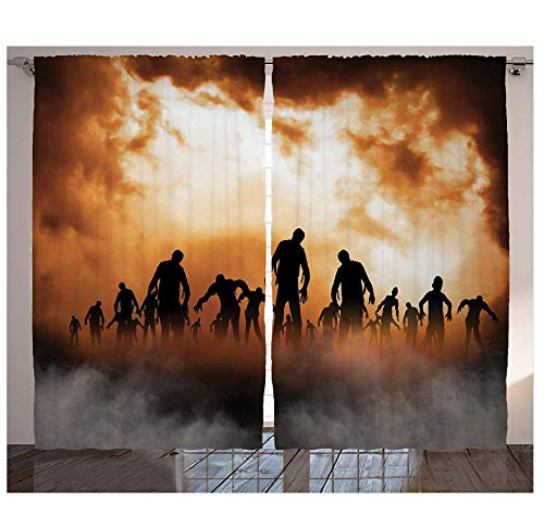 MUXIAND Halloween decoratieve gordijnen mannen lichaam lopen in de ondergang nevel aan de donkere nachthemel gehaakt decor woonkamer