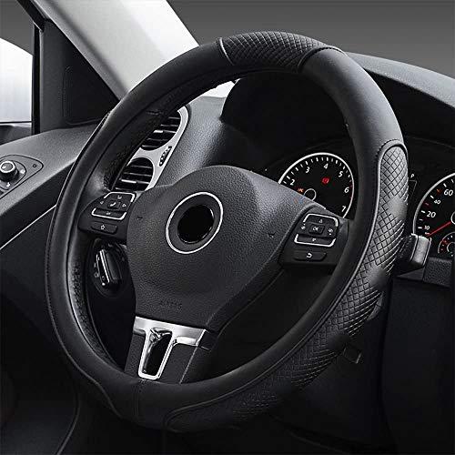 Universal Auto Lenkradhülle aus Mikrofaser-Leder, Universal Passend 37-39CM / 15'', Atmungsaktiv, Anti Rutsch, Lenkradschutz für Auto Zubehör - Schwarz