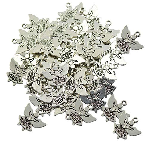 60pcs Tibetan Silver Angel Charms Pendants Angels Watching Over Me DIY Craft Durable and Useful