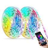 LED Strip Lights RGB Led Lights for Bedroom,Color Changing Rope Lights with Smart App Bluetooth Controller,39.4ft/50ft/65.6ft Remote Sync to Music Light for Room bar Home TV Party