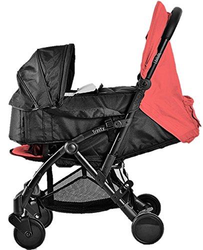 Pack Duo Babybadje Trinity 2 kinderwagen 0/3 jaar, ultralicht, 5,5 kg, ultracompact, formaat bagage cabine vliegtuig + softbakken, ultralicht, 2 kg, opvouwbaar, 0/9 kg, rood