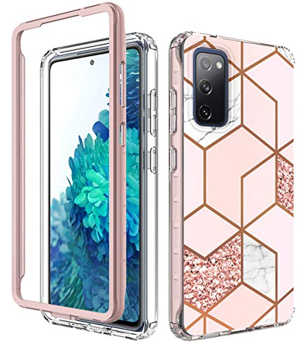 iRunzo 2 in 1 Marble Cases for Samsung Galaxy S20 FE 5G / S20 Fan Edition 5G Cover Soft TPU with PC Bumper 360° Full Body Protect (Pink)