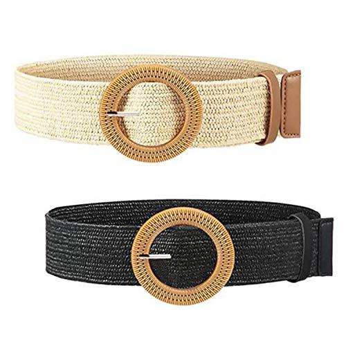 XLKJ 2 Pcs Cinturón Mujer, Cinturón de Rafia de Paja para Mujer,...