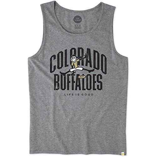 Life is Good NCAA Colorado Buffaloes Men's Surfer Tank Frisbee Jake Buffaloes, Medium, Heather Gray