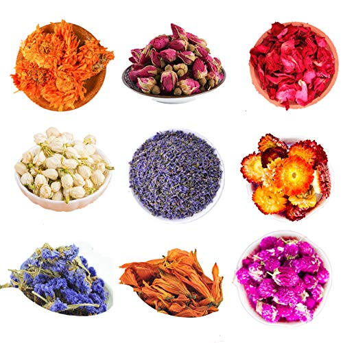 LVOPO Dried Flowers, Natural Dried Flower Herbs Kit for Bath, Soap Making, Candle Making - 9Bag Include Dried Lavender, Rose Petals, Jasmine Flower and More
