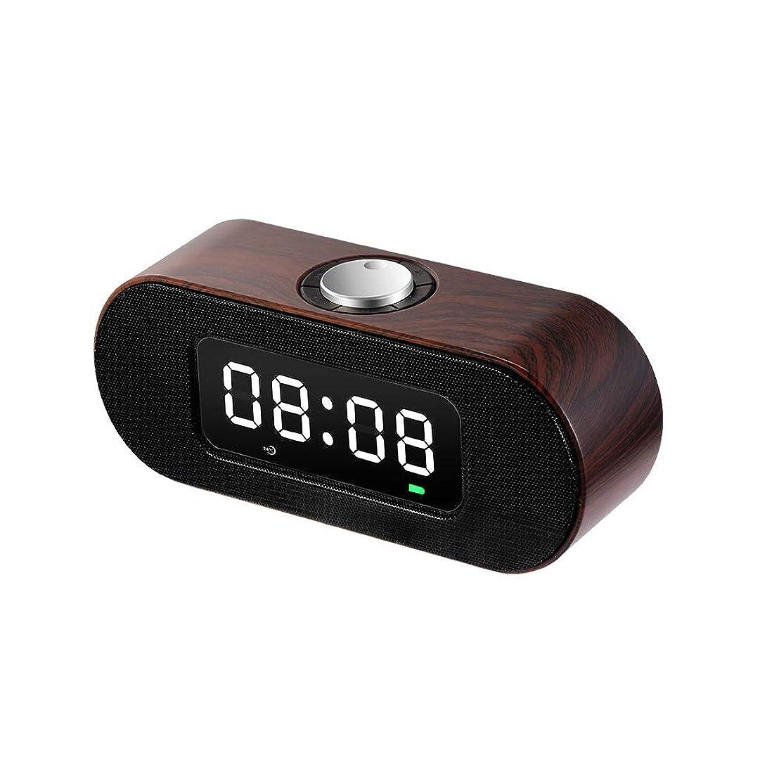 バイパス盲信施設家庭用木目ノブのBluetoothオーディオアラームクロック、寝室のラジオスマートアラームクロック、多機能、シンプルで軽量なカードの音楽目覚まし時計(サイズ:長さ200ミリメートル、幅60ミリメートル、高さ90ミリメートル)
