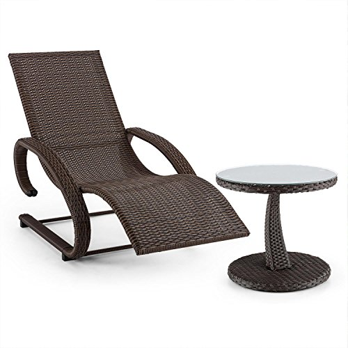 blumfeldt Daybreak Set Mecedora y Mesa de jardín o Balcon (Conjunto Tumbona, diseño Mimbre, ergonómica, Resistente) - marrón